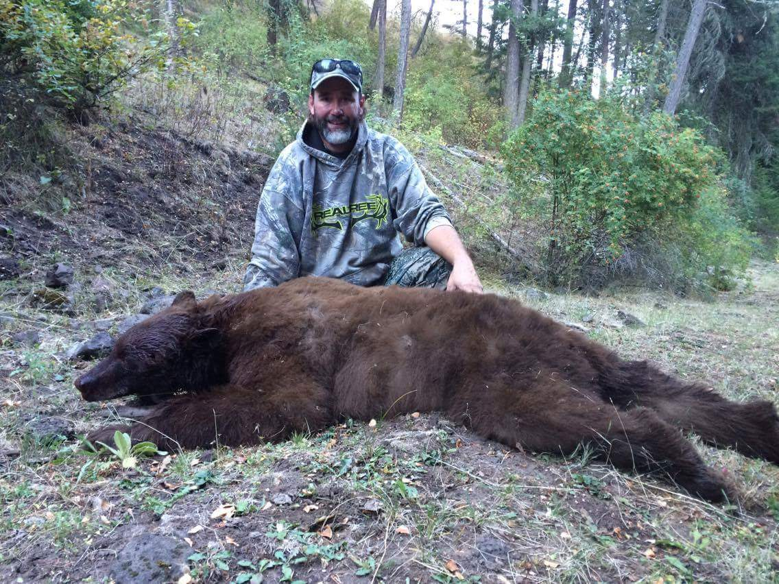 A man posing for the camera behind a brown bear he harvested during a hunt with Bungalow Outfitters