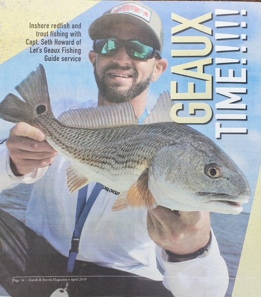 Lets Geaux Fishing Guide Service on cover of Marsh and Bayou Magazine