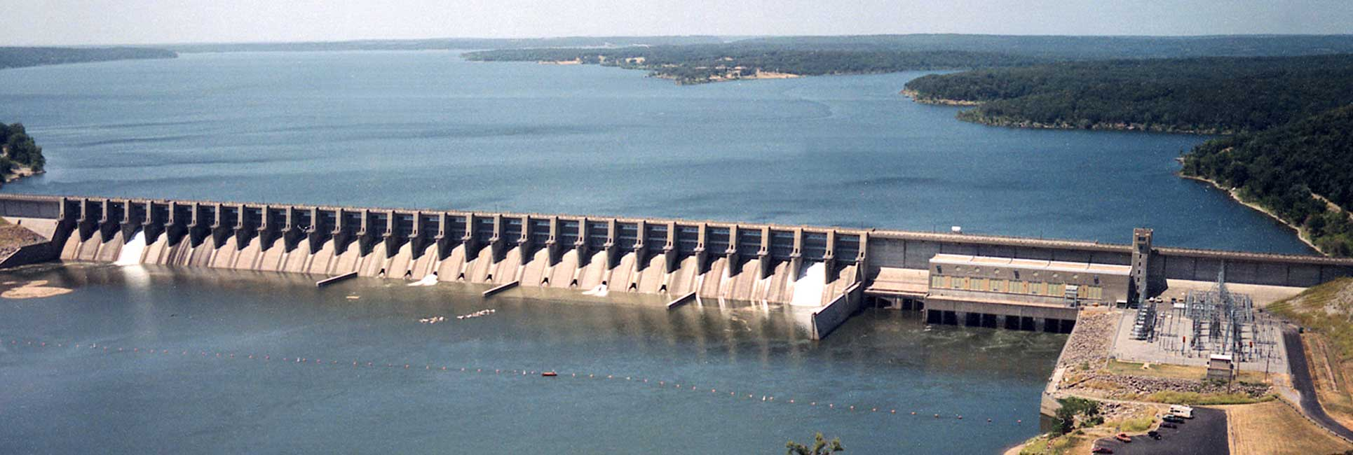 An Aerial shot of the Fort Gibson Dam in Oklahoma.