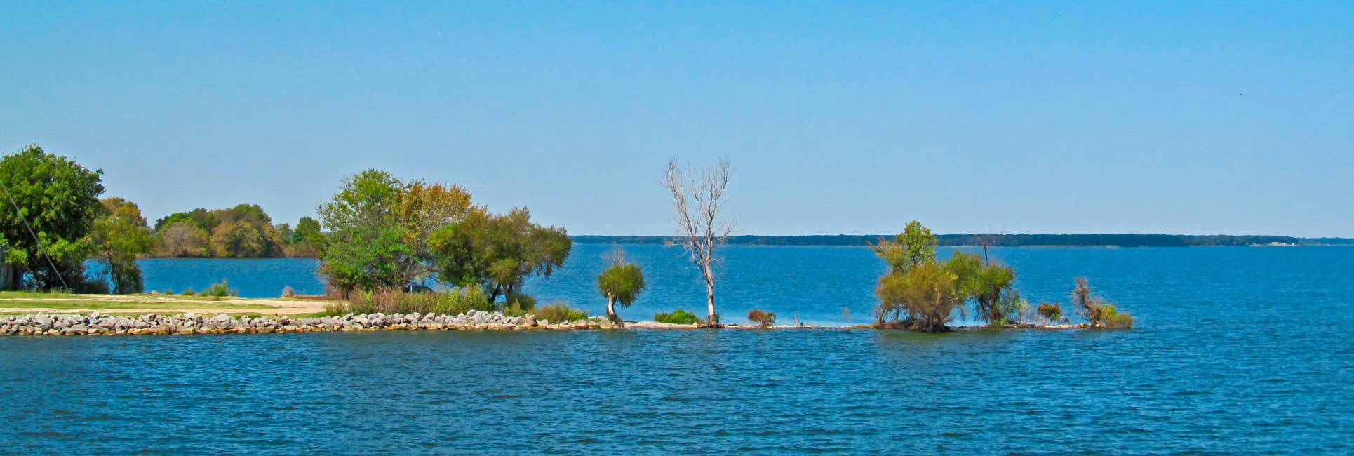 A peninsula with trees and bushes cutting into the water on Lake Tawakoni in Texas.