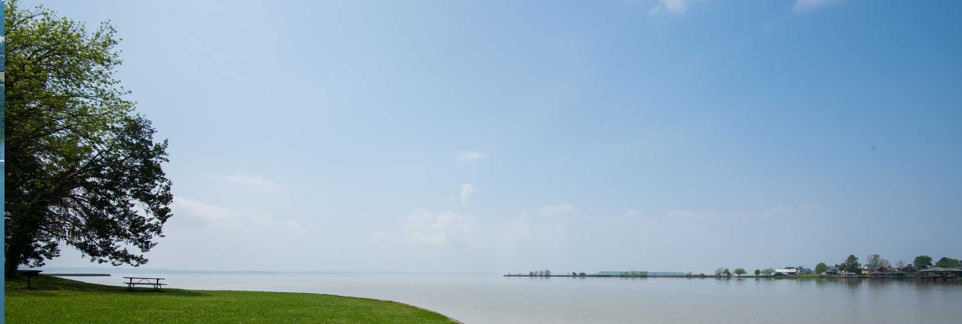 Overlooking Lake Livingston from a park on a summer day