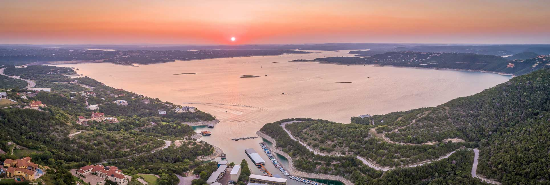 Sun setting over Lake Travis, Texas