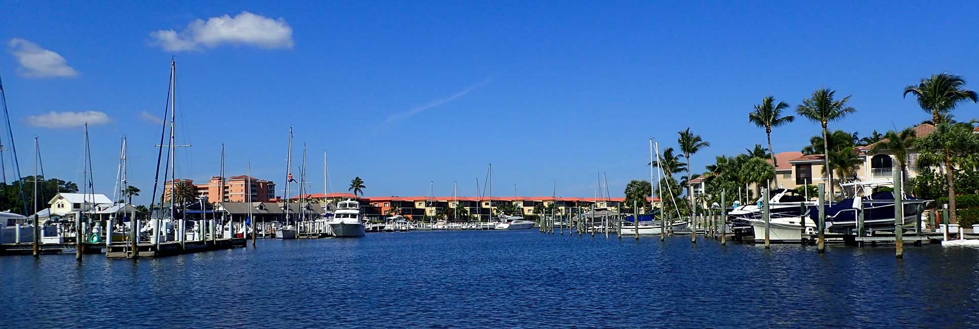 A bunch of fishing boats in a marina at Charlotte Harbor, Florida.